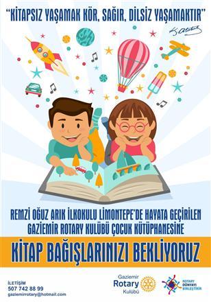Gaziemir RK Remzi Oğuz Arık İlkokulu Kütüphanesi için Kitap Bağışlarını Bekliyor