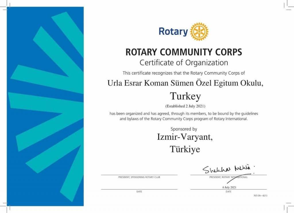 2021-2022 Dönemİ'nİn İlk Toplum Bİrlİğİ Varyant Rotary Kulübü Tarafından Kuruldu